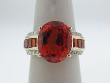 Large Oval/Baguette Cut Orange Citrines Solid 10K Two-Tone Gold Ring FREE SIZING