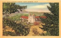Linen Postcard California H735 Santa Barbara Mission Birds Eye View Moumtains