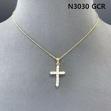 Cubic Zirconia Gold Finished Rhinestones Decorated Cross Shape Pendant Necklace