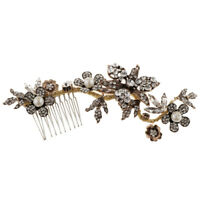 Vintage Handmade Gold Wedding Comb-Crystal Pearls Bridal Hair Accessories