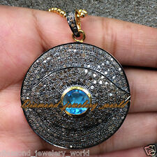 4.46cts Pave Rose Cut Diamond Silver Blue Topaz Vintage Evil Eye Pendant Jewelry