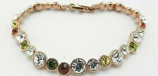 "Signed Swarovski Bracelet Rose Gold Multi Color Crystals 7"" B327"