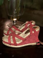 NIB Marc by Marc Jacobs Crisscross Suede Wedge Sandals, Size 7.5, Red, $280