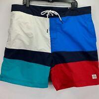 "Tommy Hilfiger Mens Maison Colorblocked 6.5"" Board Shorts Blue White S"
