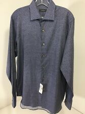 SAKS FIFTH AVENUE MEN'S CHAMBRAY SPOT L/S BUTTON UP SHIRT BLUE MED NWT $195