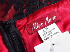 MISS ANNE RedSatinBlackLaceStretchParty SzS NWT