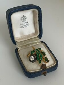 Antique Russian Faberge 14K Gold Diamonds, Demantoids, Green Enamel Ladies Ring