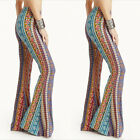 Womens Floral Pants Casual High Waist Flare Wide Leg Long Trousers Size S-XL