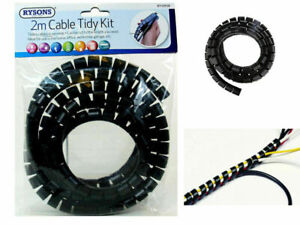 Cable Tidy 2Meter PC TV Wire Organising Wrap Spiral Office Home Wires Sorting