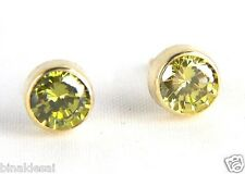 Womens Girls 9ct Gold 5mm Round RUBOVER GREEN PERIDOT Studs EARRINGS B'day GIFT