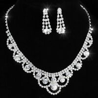 Fashion Crystal Rhinestine Pendant Necklace Earrings Wedding Bride Jewellery Set