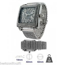 ICE MASTER SQUARE SILVER PAVE CRYSTALS BEZEL,DIAL AND BAND,BLING GLITZ MEN WATCH