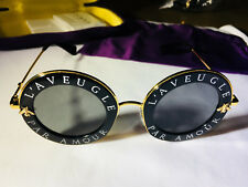 New Authentic Gucci GG0113S 001 Black Gold Sunglasses 44mm L'Aveugle Par Amour