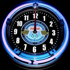 """New ListingRoute 66 8 States Neon Logo - 11"""" Blue Neon Wall Clock"""