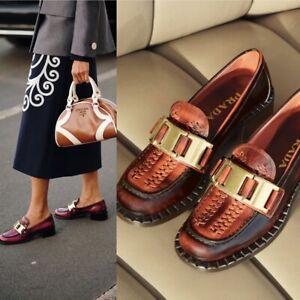 $1140 PRADA Loafers Brown Woven Leather Platform Logo Moccasins Shoes Sz 41