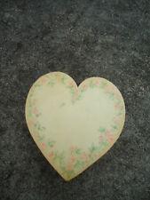 Cream & Pink Flowered Heart Shaped Cardboard Trinket Box Flocked Lining Inside
