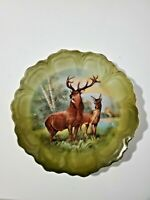 Bavaria Germany cabinet plate hand painted with majestic pair of deer 10""