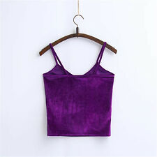 HOT Womens Spaghetti Strap Velvet Cropped Tank Top Cami