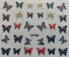 Nail Art 3D Decal Stickers Butterflies Blue White Pink & Gold YGYY200