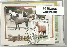 "Lot de 10 timbres blocs thematique "" Chevaux"""