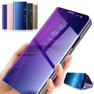 Samsung S7 edge S8 S9 +MIRROR Smart View Flip Hard tough Back Case Cover