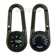Mini 3-in-1 Carabiner Key Ring KeyChain Compass & Thermometer for Hiking Travel