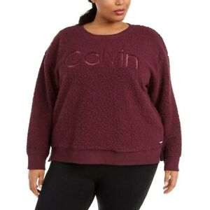 New Calvin Klein Performance Faux Sherpa Sweatshirt Top Embroidered Pullover NWT