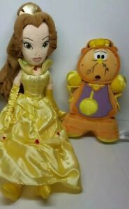 Disney Beauty and the Beast Belle and Cogsworth Plush Figure Lot of 2