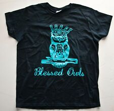 N'GENIOUS CREATIONS  BLESSED OWLS T Shirt (Graphic Tee) Black Medium Cotton Mens