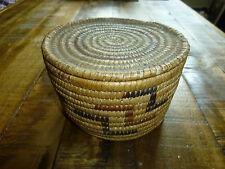 Vintage Hand Woven Sweetgrass Basket, Covered, Primitive New England Art