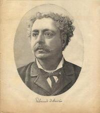 Stampa antica EDMONDO DE AMICIS ritratto in ovale 1894 Old antique print