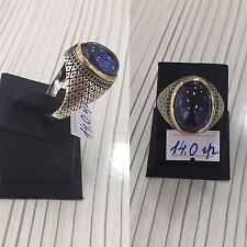 Handcraft 925 Sterling Silver Jewelry Blue Sapphire Gemstone Men's  Ring