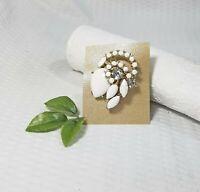 Vintage White Enamel and Rhinestone Art Brooch Pin