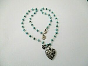Melissa Huntsman Necklace, initial E Pendant, Heart Locket, Turquoise Beads