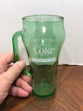 Collectible Green Coke Coca Cola Whataburger Cowboy Glass with Handle 16 oz