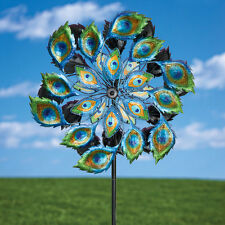 Solar Powered Metal Peacock Wind Spinner Outdoor Lawn Décor Kinetic Sculpture