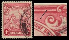 """BARBADOS 194var  (SG249a) - Colonial Badge """"Hair on Plate"""" Flaw (pa51518)"""