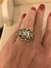 BARBARA BIXBY Sterling Silver 18k White Topaz Floral Jezabel Ring Size 9 NEW