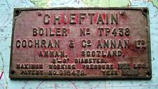 c1965 Genuine Bronze Boiler Plate  The Chieftan Cochrane Boiler Makers Annan
