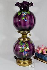 Fenton Art Glass Hand Painted Aubergine Purple GWTW Lamp Signed Diane Barbour