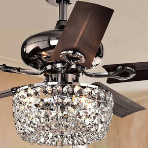 Crystal Chandelier 3-Light 5-blade 43-inch Brown Ceiling Fan -Pull Chain