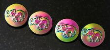 "New listing 3 Elephant Czech Glass Buttons Bright Iridescent Light Transparent Lilac 13""/16"""