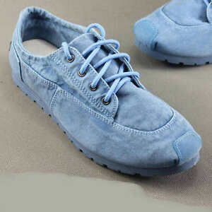 Summer Mens Driving Sneakers Loafers Denim Lace Up Breathable Pumps Shoes chic S