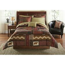 Mainstays 8-Piece Cabin Bed in a Bag Coordinating Bedding, Queen Size