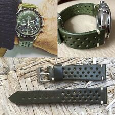 20 mm Military Green Leather Rally Strap armband bracelet for vintage pilot uhr