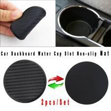 Ranura de taza de agua 2x Coche Dashboard Antideslizante Mat Negro de fibra de carbono mirada Accesorios