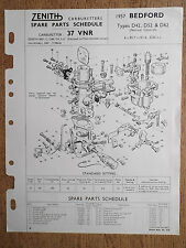 ZENITH CARBURETTER BEDFORD 1957 D42, D52 & D62 PETROL LEAFLET TECHNICAL PARTS