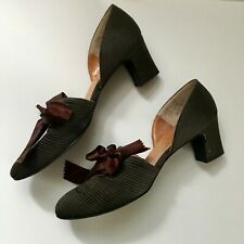 Vintage 30s 1930's style forest green shoes size 7.5 narrow
