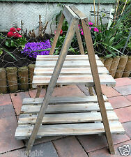 Rustic Wooden 2 Tier Plant Stand Display Step Shop Shabby Chic Shelf SECONDS