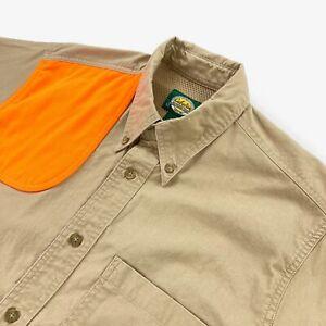 Cabela's Men's Short Sleeve Shooting Button Shirt Khaki/Orange • Medium
